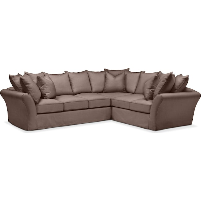 Living Room Furniture - Allison 2 Pc. Sectional with Left Facing Sofa- Comfort in Oakley III Java
