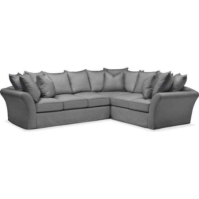 Living Room Furniture - Allison 2 Pc. Sectional with Left Facing Sofa- Comfort in Depalma Charcoal