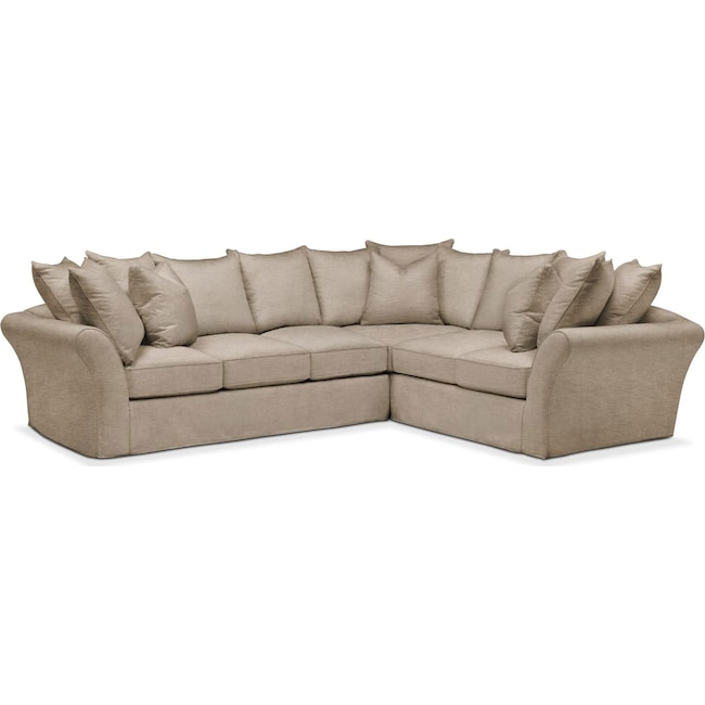 Living Room Furniture - Allison 2 Pc. Sectional with Left Facing Sofa- Cumulus in Dudley Burlap