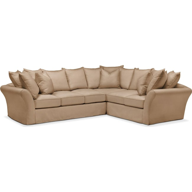 Living Room Furniture - Allison 2 Pc. Sectional with Left Facing Sofa- Cumulus in Hugo Camel
