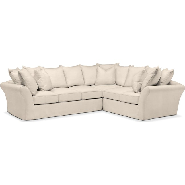 Living Room Furniture - Allison 2 Pc. Sectional with Left Facing Sofa- Cumulus in Curious Pearl