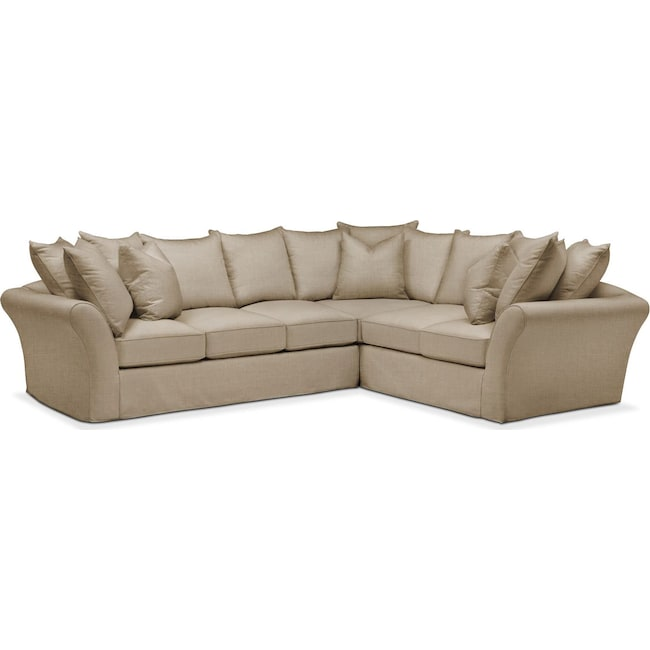 Living Room Furniture - Allison 2 Pc. Sectional with Left Facing Sofa- Cumulus in Milford II Toast