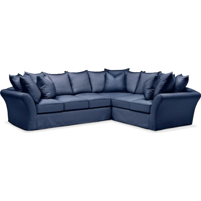 Living Room Furniture - Allison 2 Pc. Sectional with Left Facing Sofa- Comfort in Abington TW Indigo