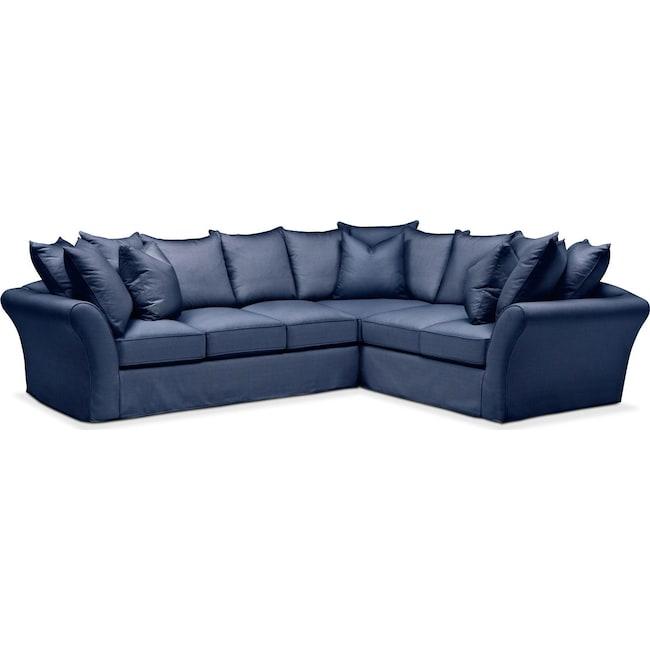 Living Room Furniture - Allison 2-Piece Sectional with Left-Facing Sofa - Comfort in Abington TW Indigo