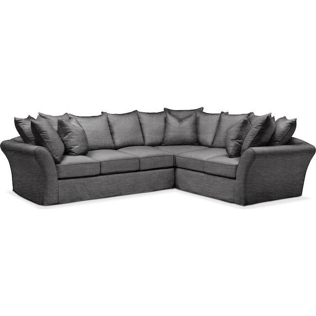 Living Room Furniture - Allison 2 Pc. Sectional with Left Facing Sofa- Comfort in Curious Charcoal