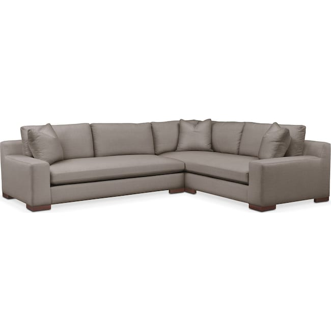 Living Room Furniture - Ethan 2 Pc. Sectional with Left Arm Facing Sofa- Comfort in Oakley III Granite
