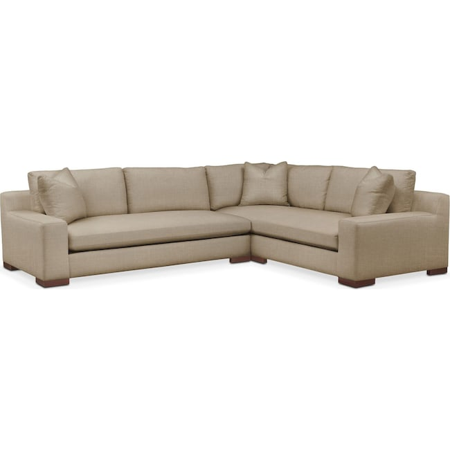 Living Room Furniture - Ethan 2-Piece Sectional with Left-Facing Sofa - Comfort in Milford II Toast