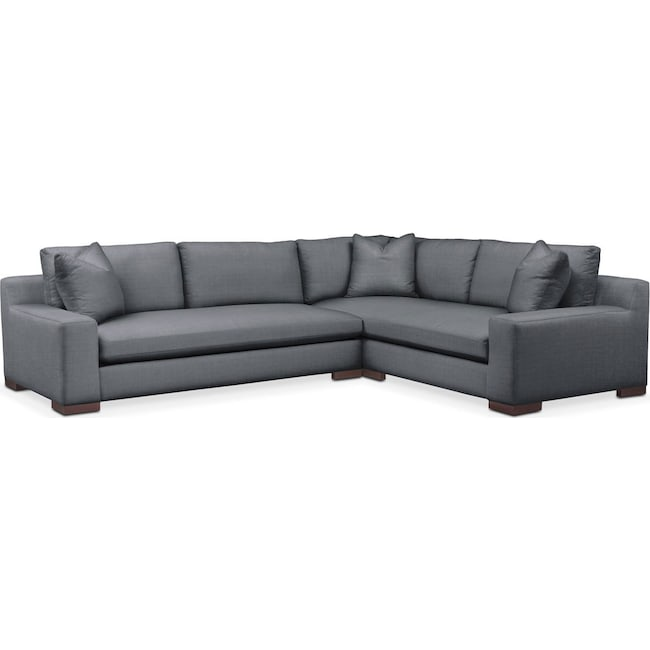 Living Room Furniture - Ethan 2 Pc. Sectional with Left Arm Facing Sofa- Comfort in Milford II Charcoal