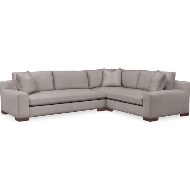 Living Room Furniture - Ethan 2 Pc. Sectional with Left Arm Facing Sofa- Comfort in Curious Silver Rine