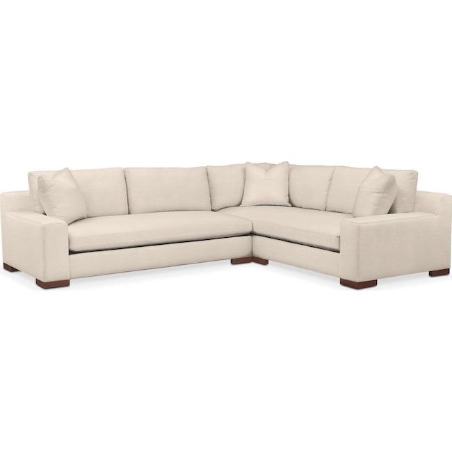 Living Room Furniture - Ethan 2 Pc. Sectional with Left Arm Facing Sofa- Comfort in Curious Pearl
