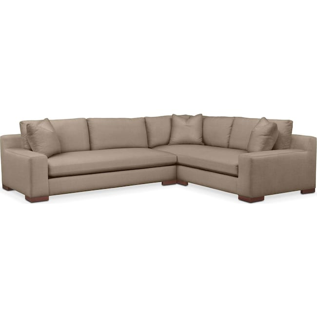 Living Room Furniture - Ethan 2 Pc. Sectional with Left Arm Facing Sofa- Comfort in Statley L Mondo