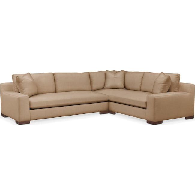 Living Room Furniture - Ethan 2 Pc. Sectional with Left Arm Facing Sofa- Comfort in Hugo Camel