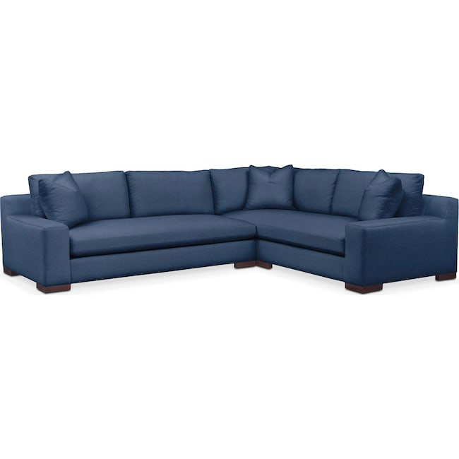Living Room Furniture - Ethan 2 Pc. Sectional with Left Arm Facing Sofa- Comfort in Hugo Indigo