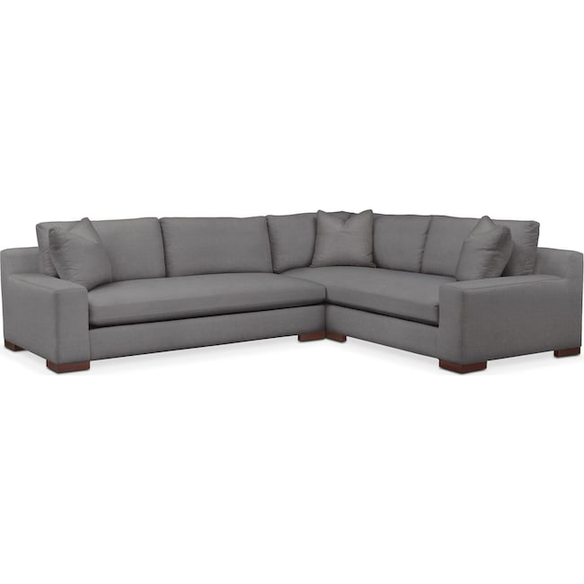 Living Room Furniture - Ethan 2 Pc. Sectional with Left Arm Facing Sofa- Comfort in Hugo Graphite