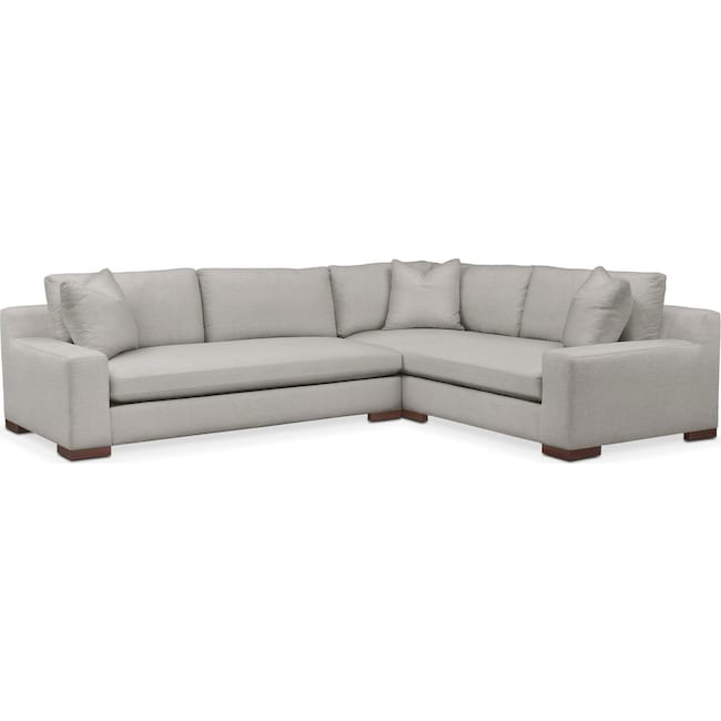 Living Room Furniture - Ethan 2 Pc. Sectional with Left Arm Facing Sofa- Comfort in Dudley Gray