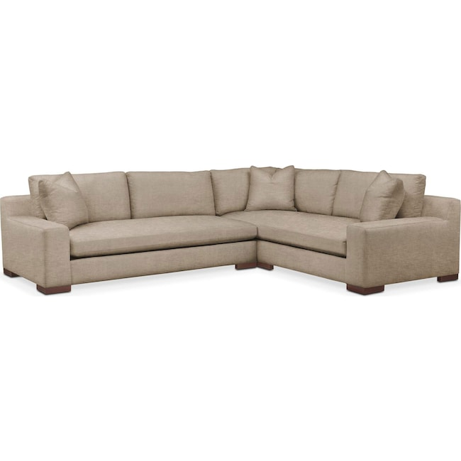 Living Room Furniture - Ethan 2 Pc. Sectional with Left Arm Facing Sofa- Comfort in Dudley Burlap