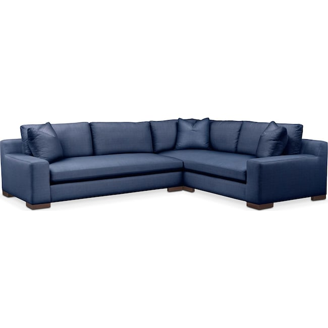 Living Room Furniture - Ethan 2-Piece Sectional with Left-Facing Sofa - Comfort in Abington TW Indigo