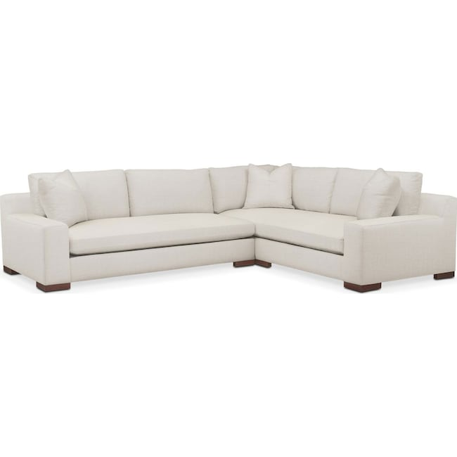 Living Room Furniture - Ethan 2 Pc. Sectional with Left Arm Facing Sofa- Comfort in Anders Ivory