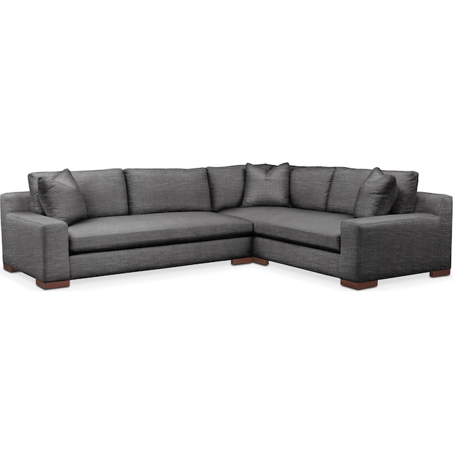 Living Room Furniture - Ethan 2 Pc. Sectional with Left Arm Facing Sofa- Cumulus in Depalma Charcoal