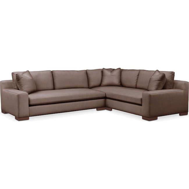 Living Room Furniture - Ethan 2-Piece Sectional with Left-Facing Sofa - Cumulus in Oakley III Java