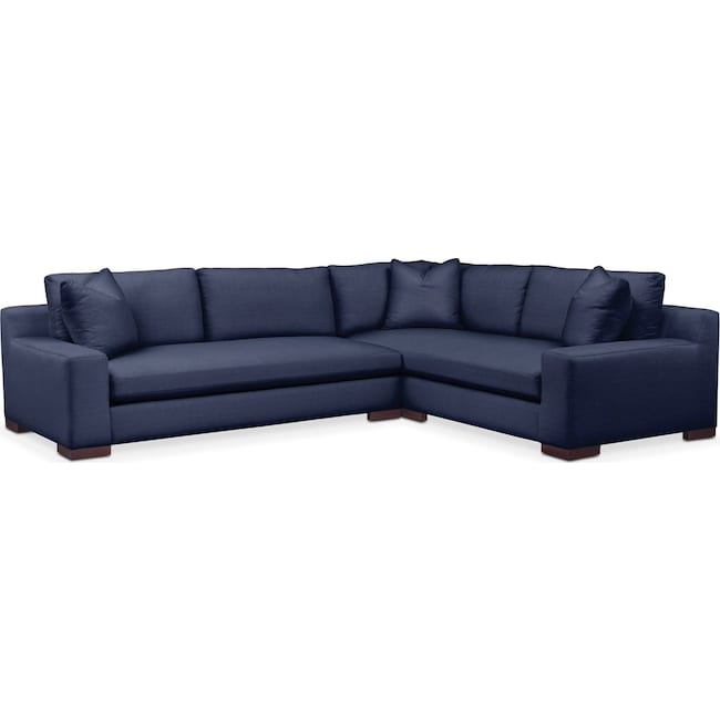 Living Room Furniture - Ethan 2 Pc. Sectional with Left Arm Facing Sofa- Cumulus in Oakley III Ink