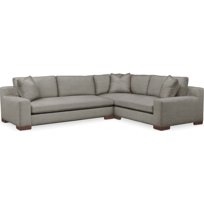 Living Room Furniture - Ethan 2-Piece Sectional with Left-Facing Sofa - Cumulus in Victory Smoke