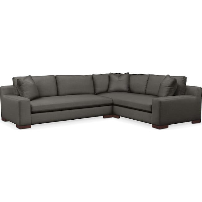 Living Room Furniture - Ethan 2 Pc. Sectional with Left Arm Facing Sofa- Cumulus in Statley L Sterling