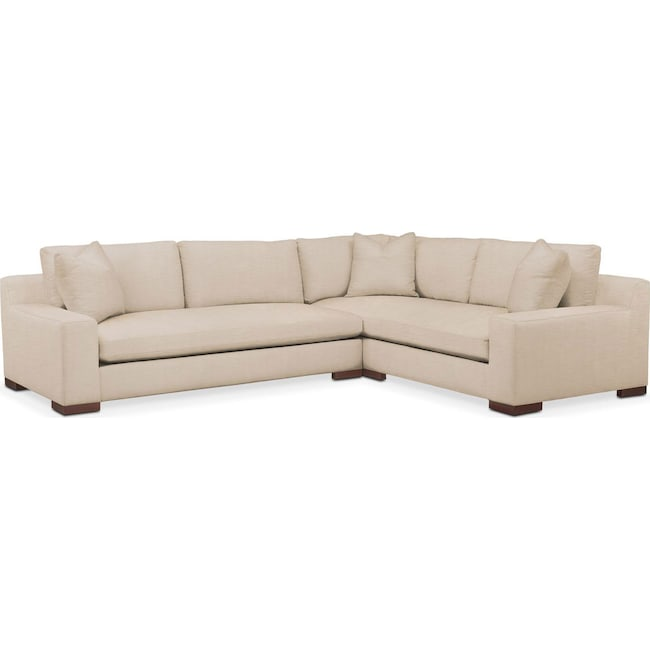 Living Room Furniture - Ethan 2 Pc. Sectional with Left Arm Facing Sofa- Cumulus in Dudley Buff