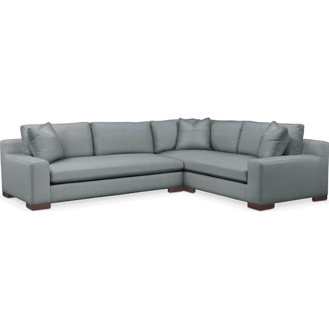 Living Room Furniture - Ethan 2 Pc. Sectional with Left Arm Facing Sofa- Cumulus in Abington TW Seven Seas