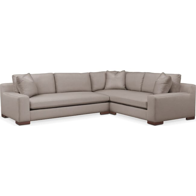 Living Room Furniture - Ethan 2 Pc. Sectional with Left Arm Facing Sofa- Cumulus in Abington TW Fog