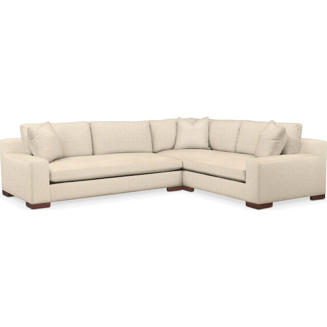 Living Room Furniture - Ethan 2 Pc. Sectional with Left Arm Facing Sofa- Cumulus in Anders Cloud