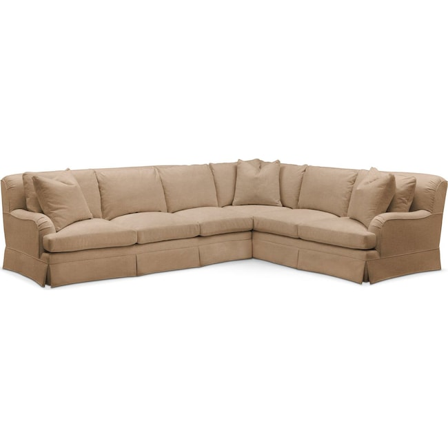 Living Room Furniture - Campbell 2-Piece Sectional with Left-Facing Sofa - Cumulus in Hugo Camel