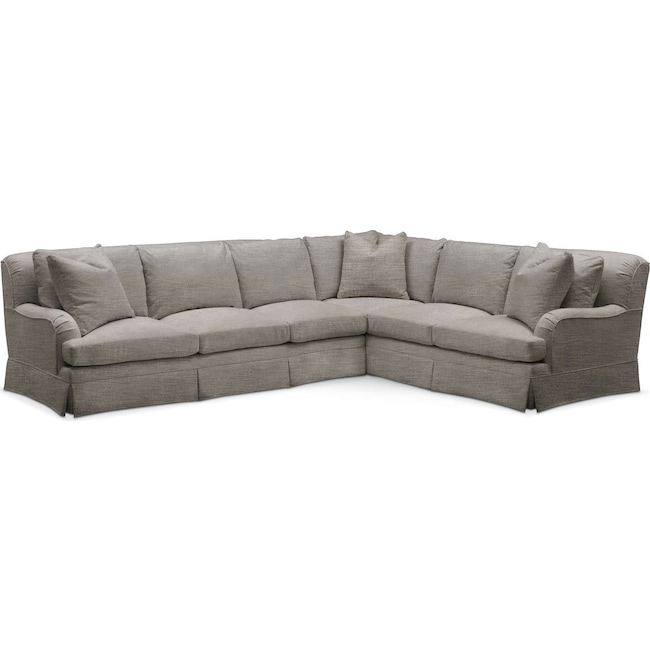 Living Room Furniture - Campbell 2-Piece Sectional with Left-Facing Sofa - Cumulus in Victory Smoke