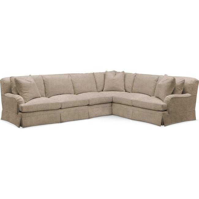 Living Room Furniture - Campbell 2 Pc. Sectional with Left Arm Facing Sofa- Comfort in Dudley Burlap