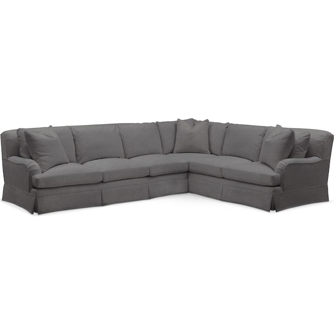 Living Room Furniture - Campbell 2 Pc. Sectional with Left Arm Facing Sofa- Comfort in Hugo Graphite