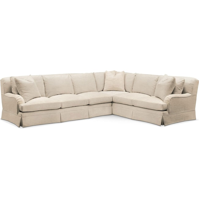 Living Room Furniture - Campbell 2 Pc. Sectional with Left Arm Facing Sofa- Comfort in Victory Ivory