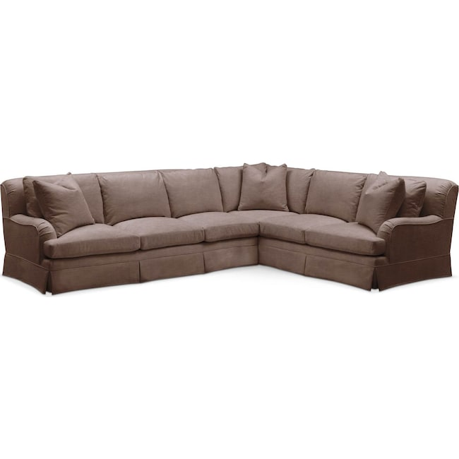 Living Room Furniture - Campbell 2 Pc. Sectional with Left Arm Facing Sofa- Comfort in Oakley III Java