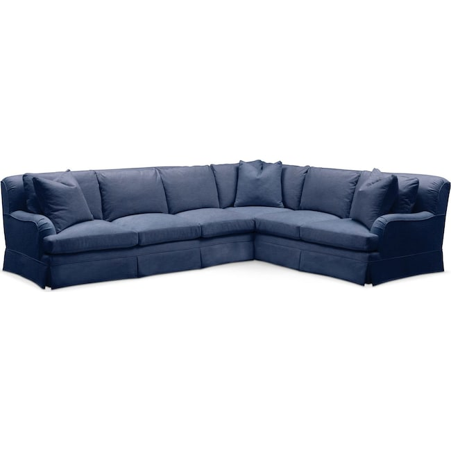 Living Room Furniture - Campbell 2 Pc. Sectional with Left Arm Facing Sofa- Comfort in Abington TW Indigo