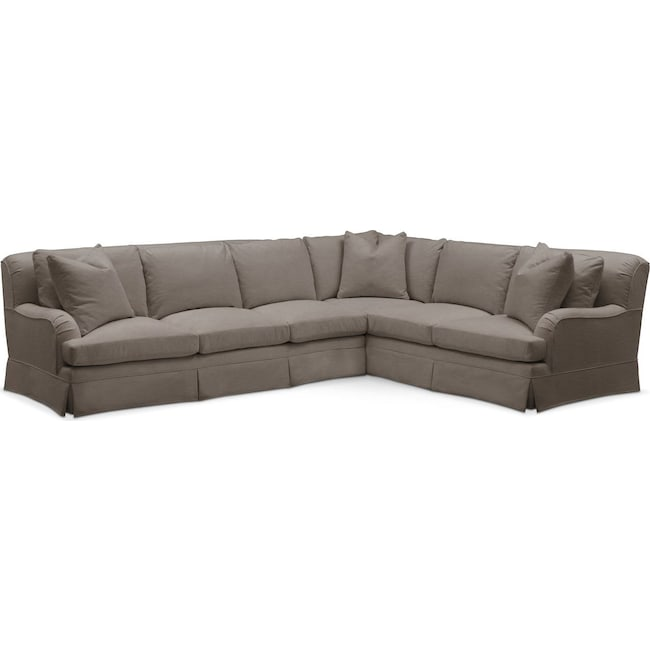 Living Room Furniture - Campbell 2 Pc. Sectional with Left Arm Facing Sofa- Comfort in Oakley III Granite