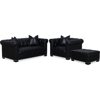 Couture Apartment Sofa, Chair and Ottoman Set - Black