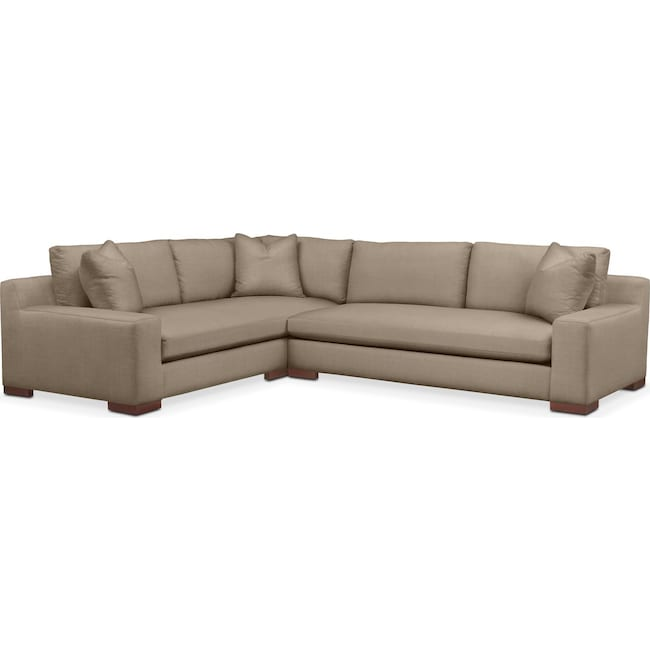Living Room Furniture - Ethan 2 Pc. Sectional with Right Arm Facing Sofa- Comfort in Statley L Mondo