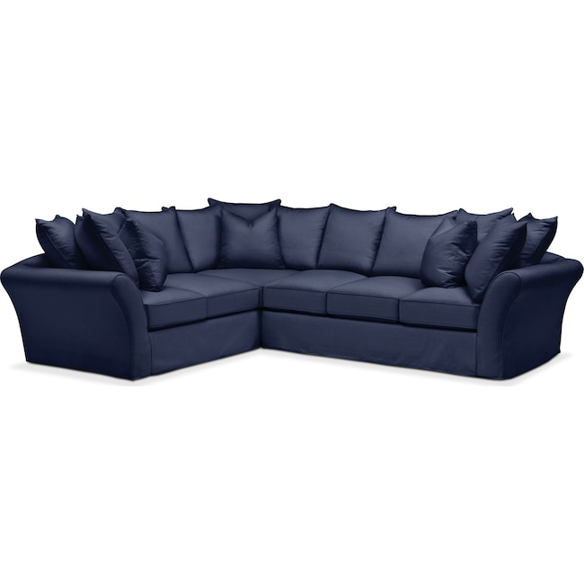 Living Room Furniture - Allison 2 Pc. Sectional with Right Facing Sofa- Comfort in Oakley III Ink