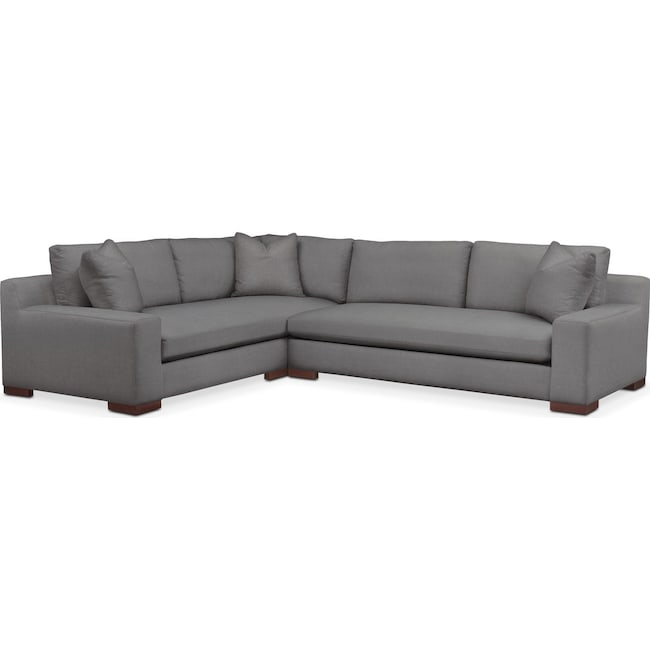 Living Room Furniture - Ethan 2 Pc. Sectional with Right Arm Facing Sofa- Cumulus in Hugo Graphite
