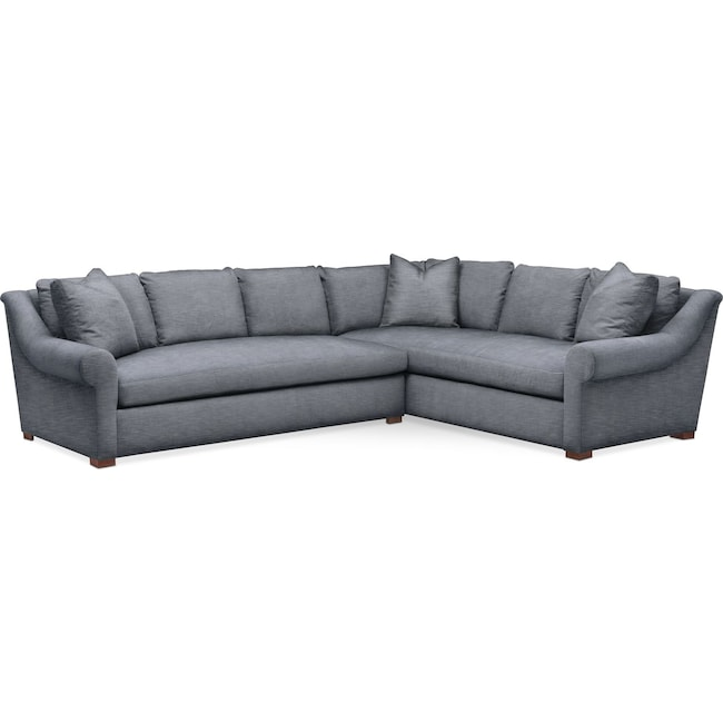 Living Room Furniture - Asher 2 Pc. Sectional with Left Arm Facing Sofa- Comfort in Dudley Indigo