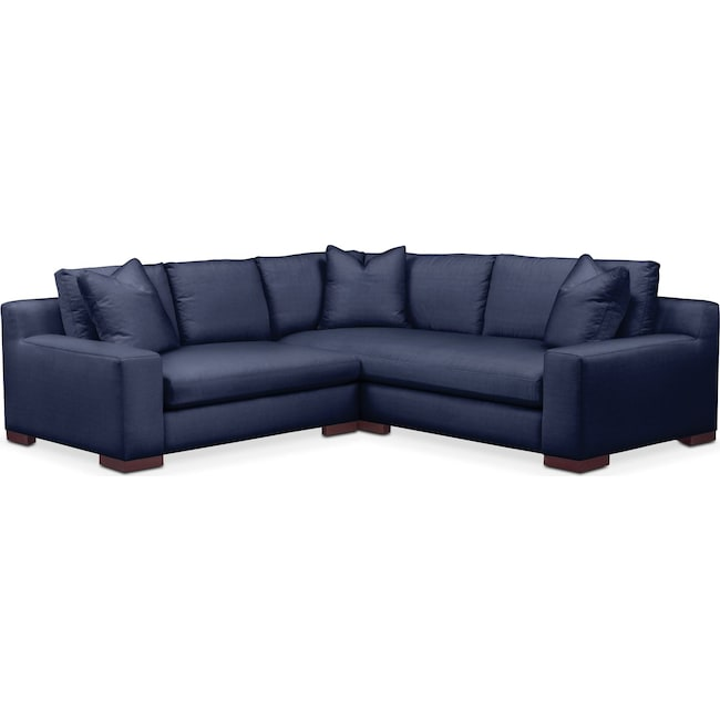 Living Room Furniture - Ethan 2 Pc. Sectional with Left Arm Facing Loveseat- Cumulus in Oakley III Ink