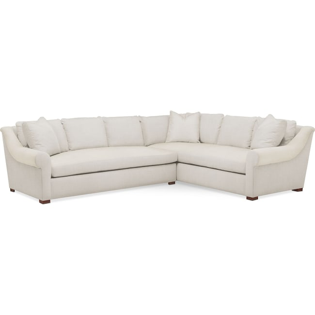 Living Room Furniture - Asher 2 Pc. Sectional with Left Arm Facing Sofa- Comfort in Anders Ivory