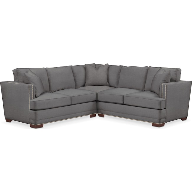 Living Room Furniture - Arden 2-Piece Sectional with Left-Facing Loveseat - Cumulus in Hugo Graphite