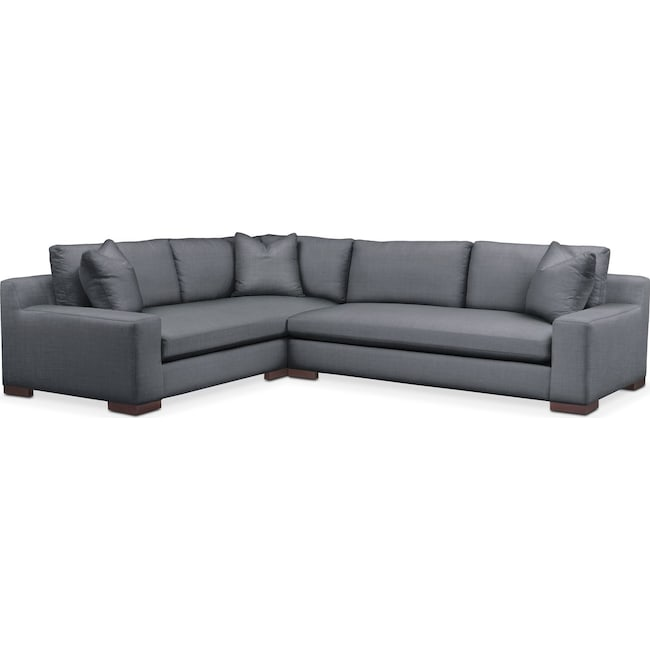 Living Room Furniture - Ethan 2-Piece Sectional with Right-Facing Sofa - Comfort in Milford II Charcoal