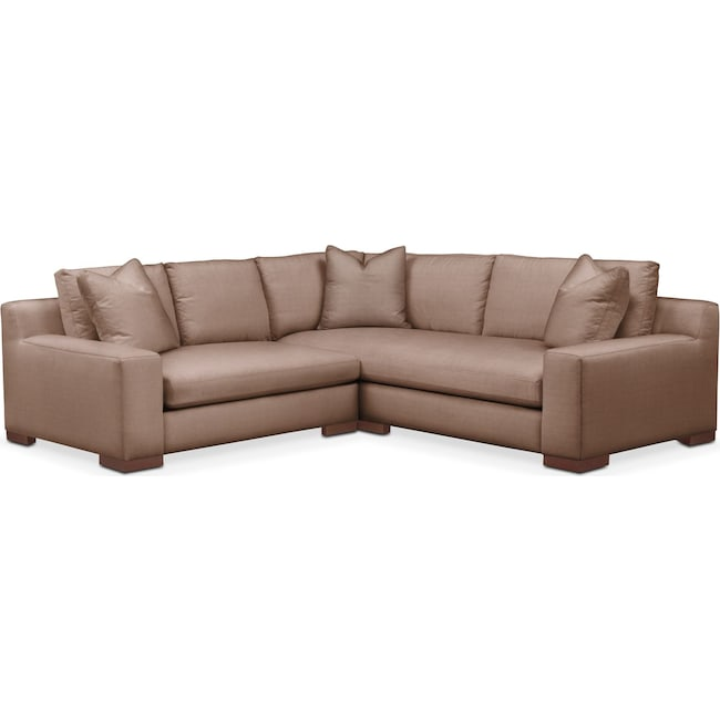 Living Room Furniture - Ethan 2 Pc. Sectional with Left Arm Facing Loveseat- Comfort in Abington TW Antler