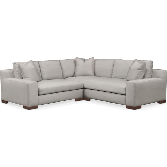 Living Room Furniture - Ethan 2 Pc. Sectional with Left Arm Facing Loveseat- Comfort in Dudley Gray